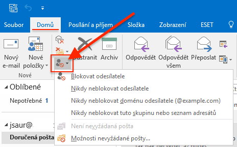 Outlook - Nevyžádaná pošta