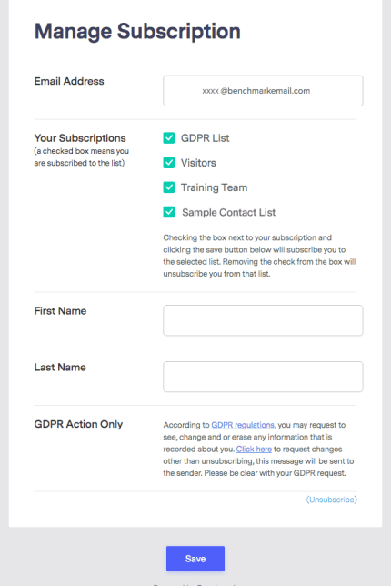 unsubscribe link