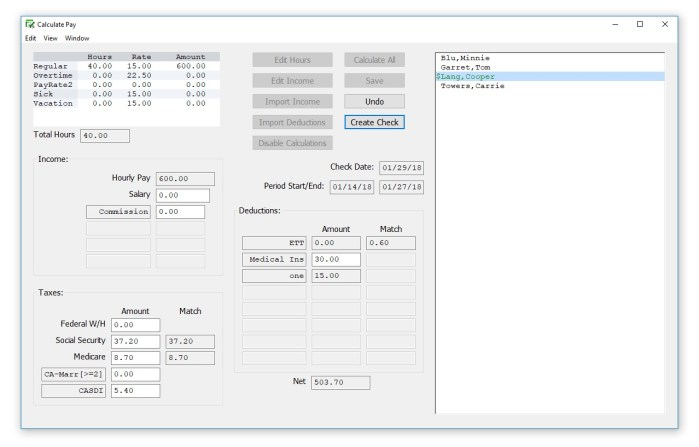 The Calculate Pay Window appears