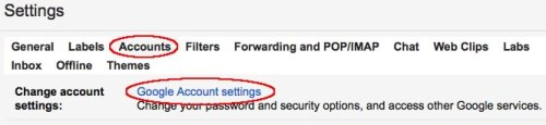 Image of Google Account settings