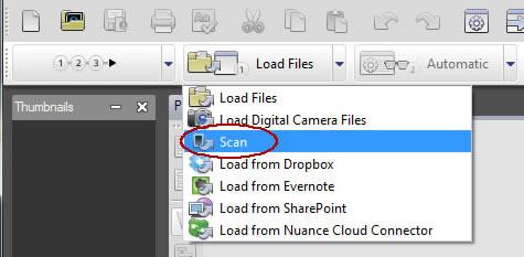 Image of Load files menu