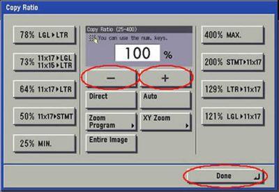 Image of reduce or enlarge screen
