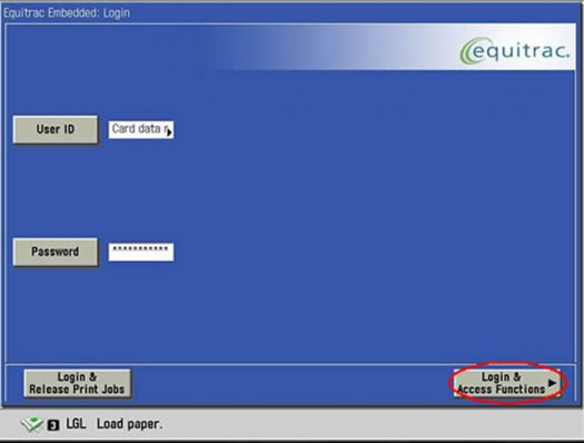 Image of login and access functions