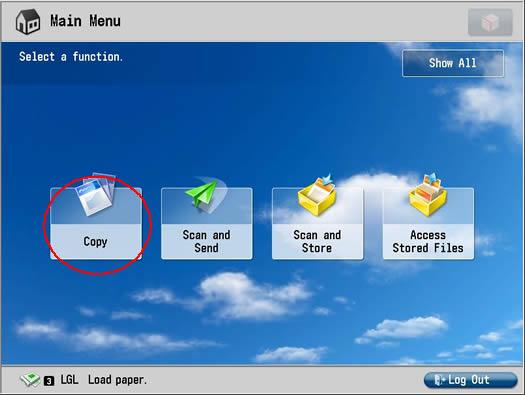 Image of copy screen
