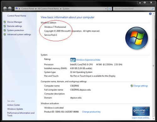Image of system information dialog box
