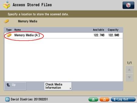 Image of memory media screen