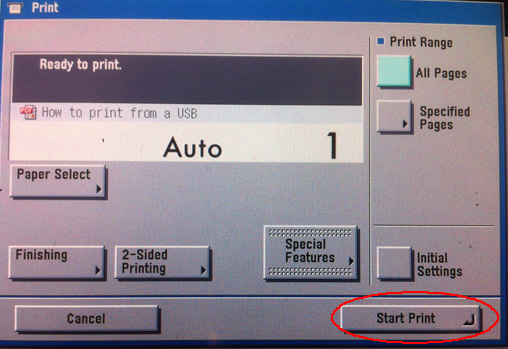 Image of USB start print window