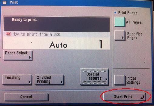 Image of USB start print window