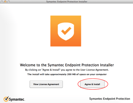 Image of Symantec Welcome screen