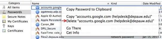 Image of Keychain delete password