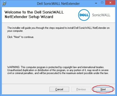 Image of Dell SonicWALL NetExtender dialog box