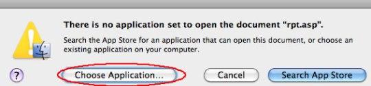 Image of choose application dialog box
