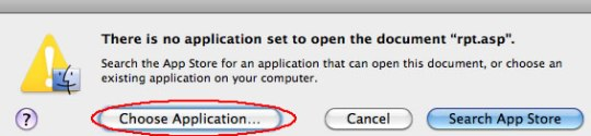 Image of choose application dialog box