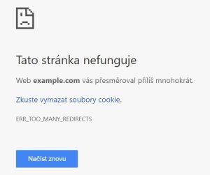 Tato stránka nefunguje. Web vás přesměroval příliš mnohokrát