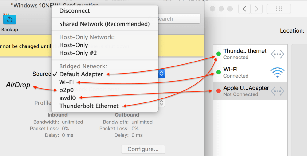 medium resolution of  bridged default adapter corresponds to whichever network adapter is chosen as the default the first in the list system preferences network on the