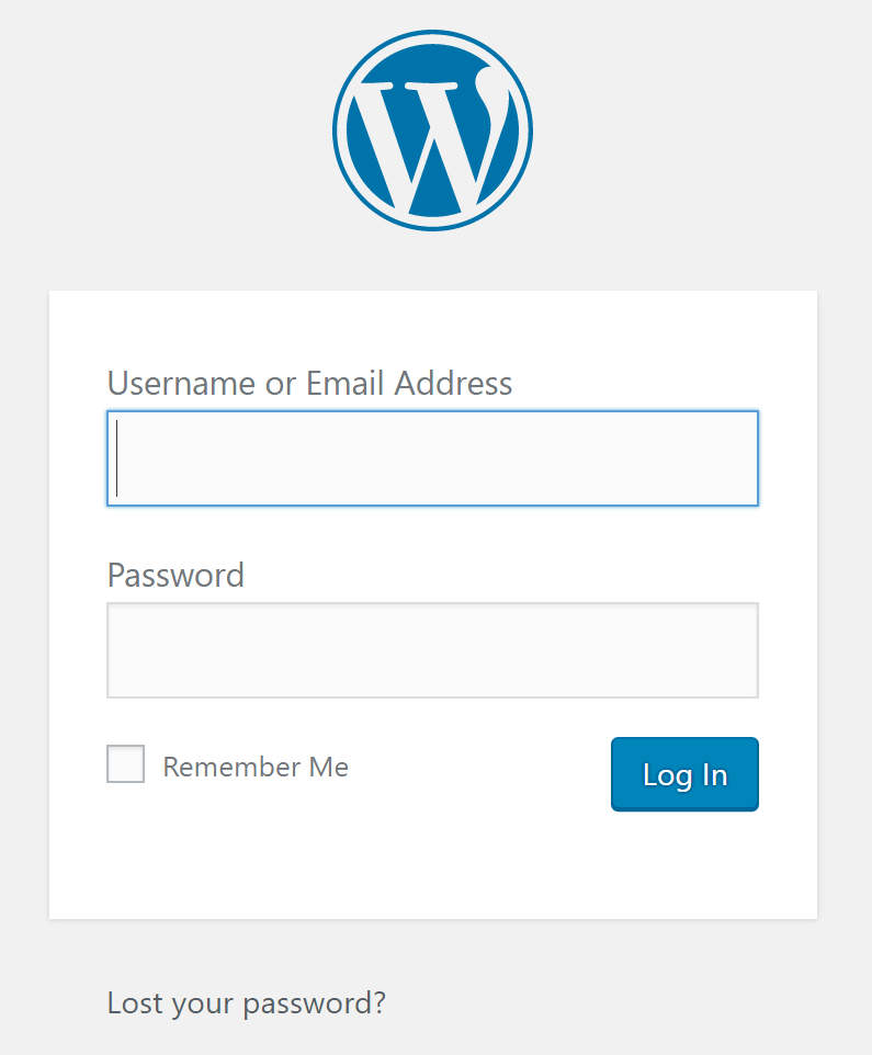 Signing into WordPress login screen for the first time.