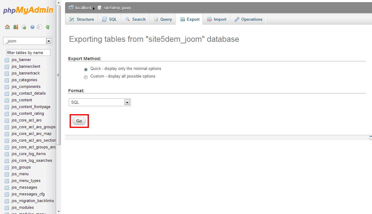 Site5 KnowledgeBase » Joomla 1.5: How to Change your Table