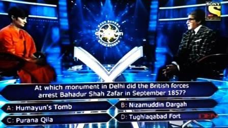 KBC Ques : At Which Monument in Delhi did the British forces arrest Bahadur Shah Zafar in September 1857?