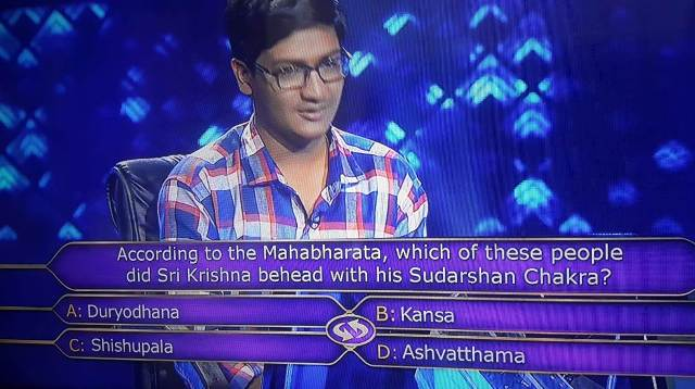 Ques : According to the Mahabharata, which of these people did Sri Krishna behead with his Sudarshan chakra?