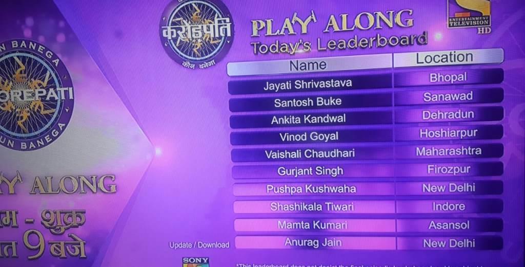 KBC Play Along Leaderboard Dated 16th September