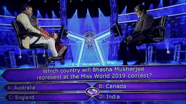 Ques : Which country will Bhasha Mukherjee represent at the Miss World 2019 contest?