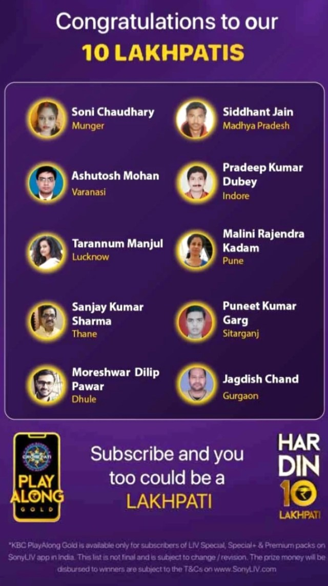 KBC Play Along Gold Winner - Episode 16 - Here are top 10 Names - Play Now