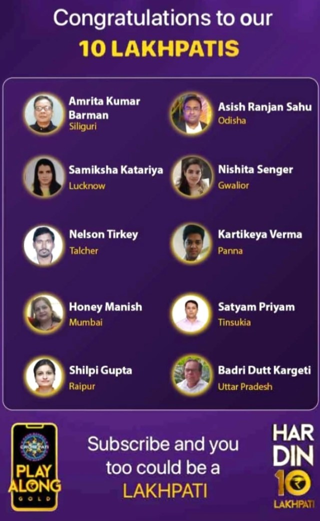 KBC Play Along Gold Winner - Episode 18 - Here are top 10 Names - Play Now