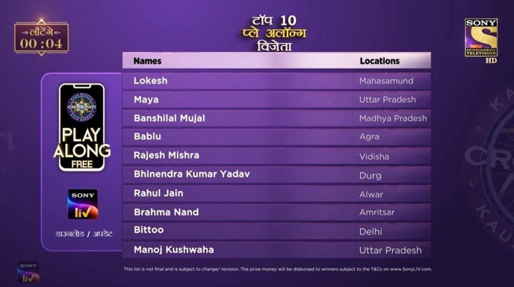 Top 10 Playa Along KBC
