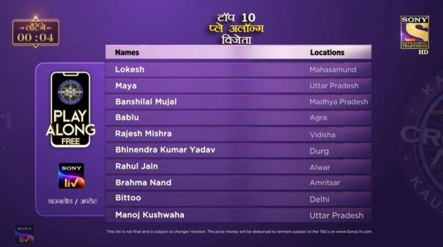 KBC Play Along Gold Winner – Episode 44 – Here are top 10 Names – Play Now