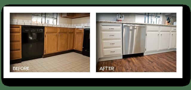 new cabinets, flooring, countertops.
