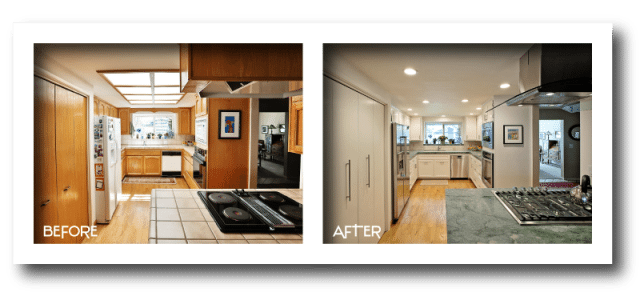 before and after kitchen renovation.