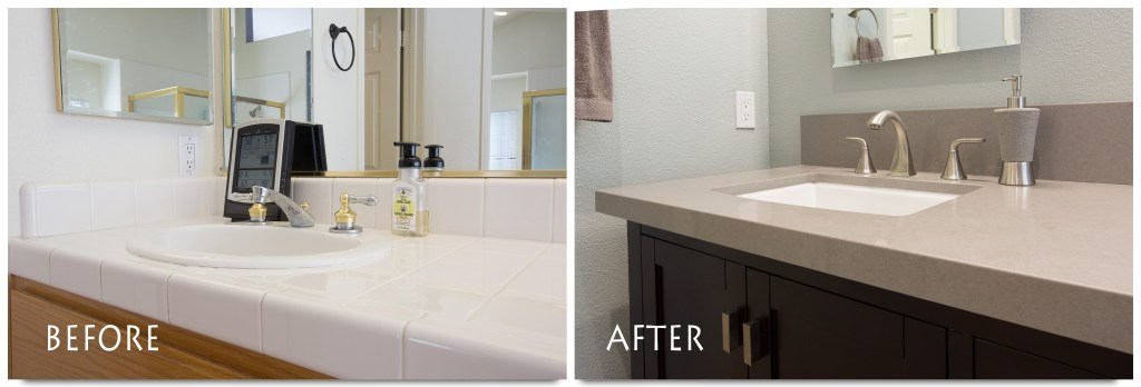 before and after custom vanity remodel.