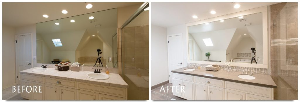 guest bathroom remodel before and after.