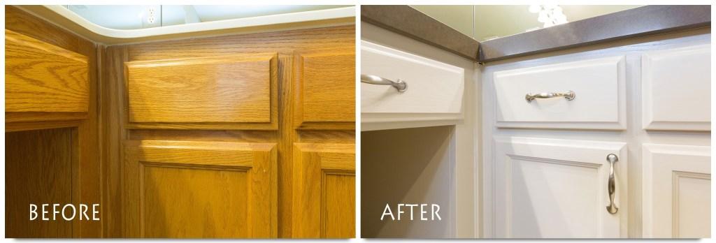 custom white vanity cabinets.