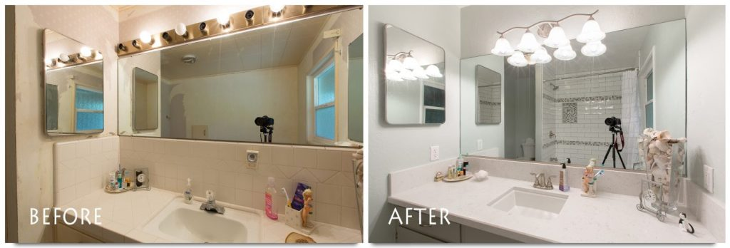 custom bathroom remodel before and after.