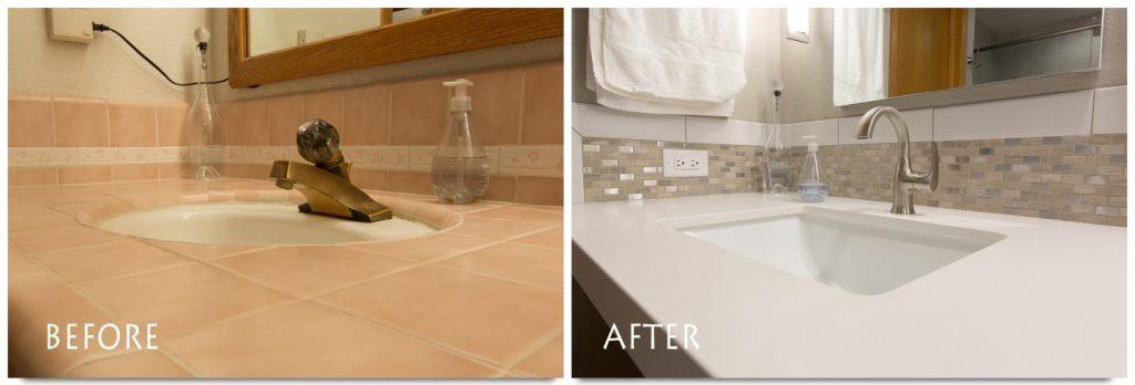 custom vanity counter, sink, and hardware.
