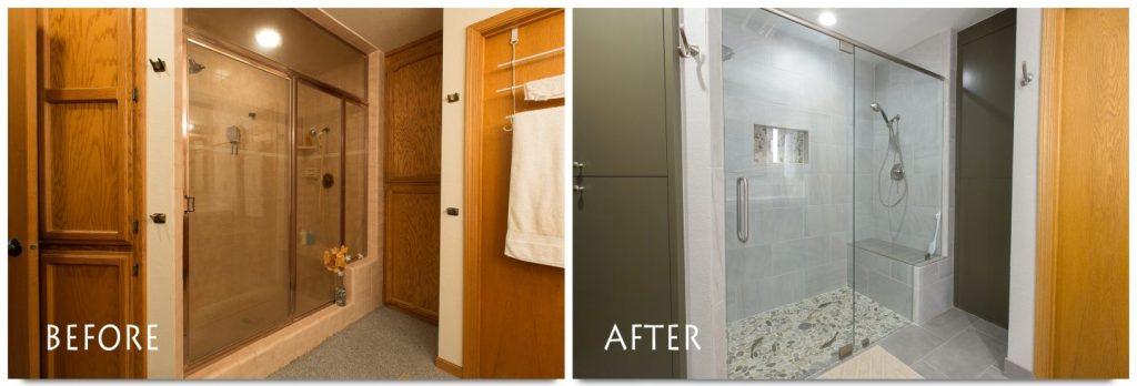full tile walk in shower.