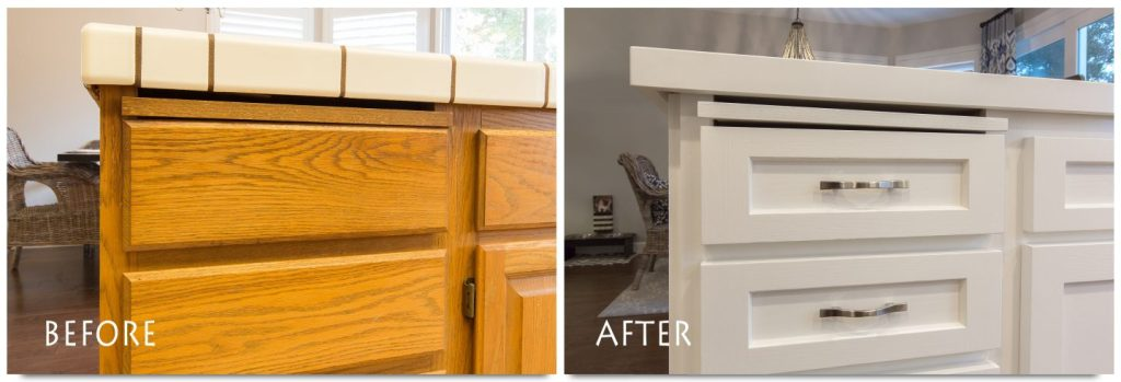 newly refinished kitchen cabinets and new hardware.
