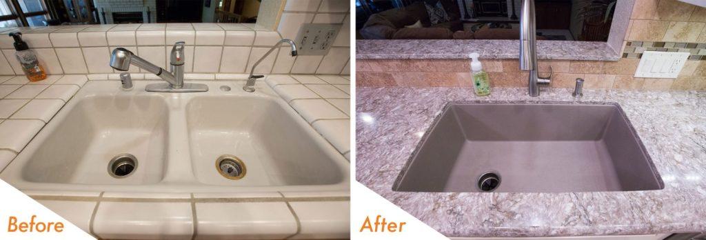new sink, fixtures, and countertop.