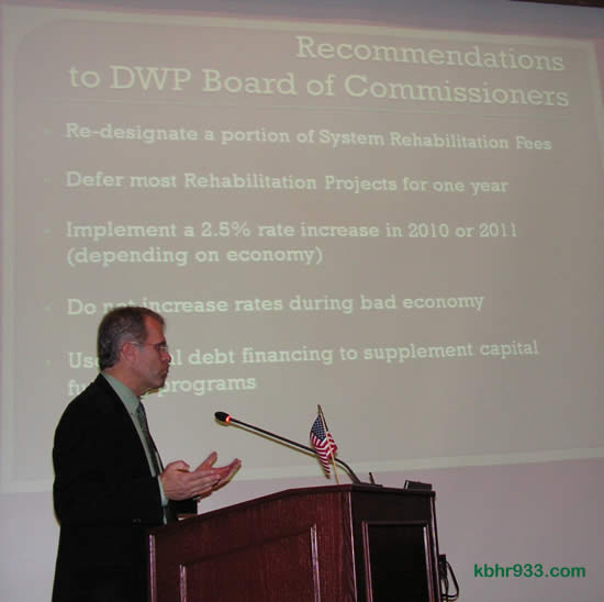 The DWP's GM Joel Dickson with his Power Point presentation before City Council