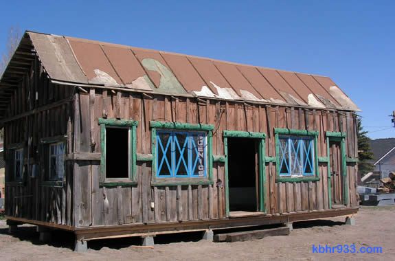 The cabin, now on the museum property in Big Bear City.