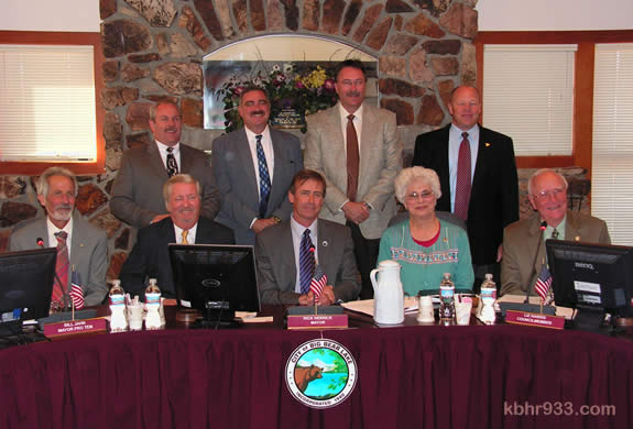 San Bernardino County Sheriff Rod Hoops (standing, far right) made his first trip to Big Bear as sheriff for the May 11 City Council meeting. Pictured, from front left: Council members Michael Karp, Bill Jahn, Rick Herrick, Liz Harris and Darrell Mulvihill with (standing) Big Bear Sheriff's Station Captain Greg Garland, Assistant Sheriff Warren Nobles, Deputy Chief Paul Cook and Sheriff Hoops.