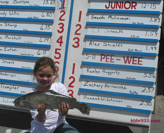 Seven-year-old Kaelee Haggerty's 5.56 pound fish earned her a rod, reel, trophy--and the respect of her fellow fishermen.