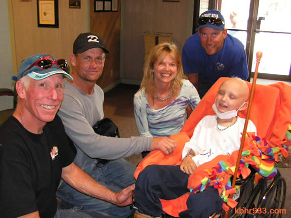 Super trooper Nigel with (from left) George Crezee, dad Tim, mom Monica, and Chase Gardner