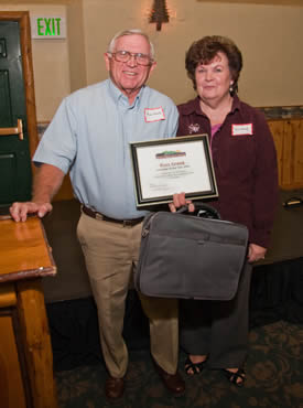 "Volunteer of the Year Russ Greek, here with wife Sue, has been described as the ""backbone"" of the Big Bear Lake Antique Car Club."