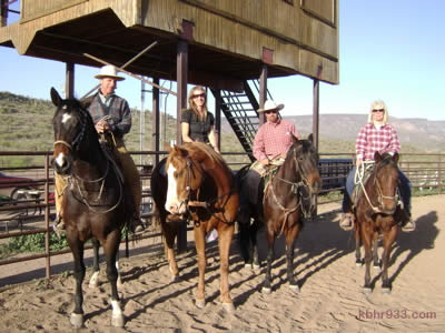 """The """"horse whisperer"""" Buck Brannaman and Paul Dietz (third from left) with Los Vaqueros' Suzanne Hodges and Kathy Armsby in New River, Arizona this year. Hodges tells KBHR, """"To be able to ride with Paul and Buck was such an honor."""""""