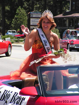 Miss Big Bear Hayley Bracken wore her prom dress to ride in dad's Corvette.
