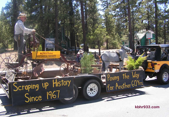 "The Big Bear Valley Historical Society won this year's Float Sweepstakes with their elaborate float, which was accompanied by ""old miners"" with burros and a wolf."