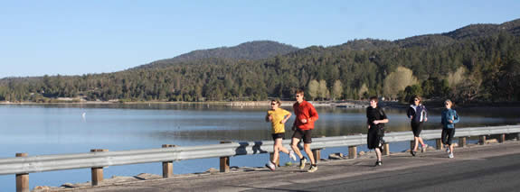 The Run the Bear event, on September 12, will highlight the more scenic aspects of the Big Bear Valley--including Stanfield Cutoff along Big Bear Lake, as shown here.