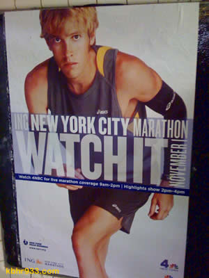Ryan Hall's appearance in the New York City Marathon has been heavily promoted, as seen here in a poster from the NYC subway.